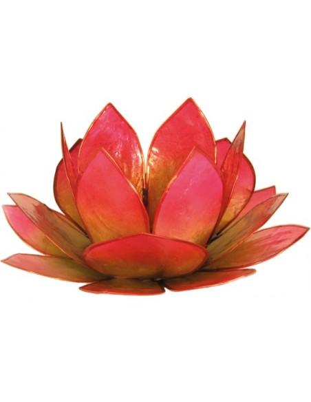Bougeoir Lotus Levée du Soleil Vert et Rose