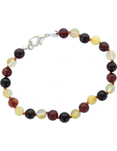 Bracelet Perles Rondes Ambre Multicolore - fermoir métallique