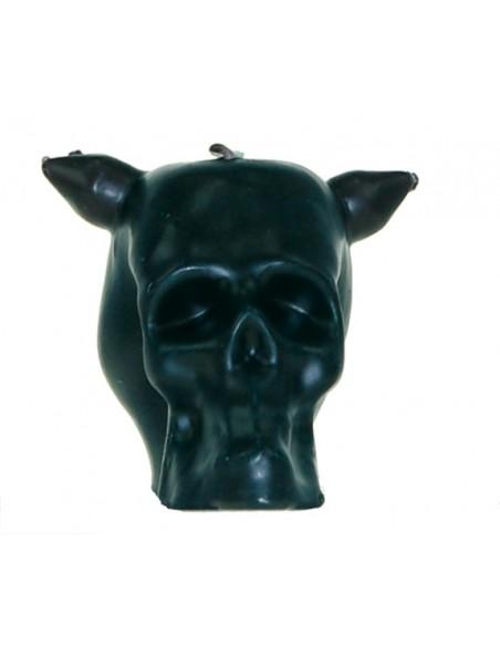 Bougie figurative Tête de mort avec 3 mèches Noir