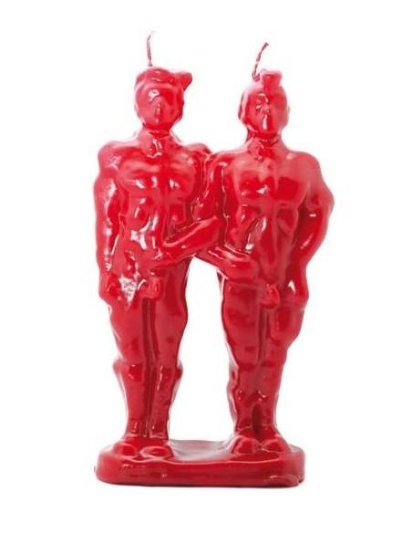 Bougie figurative Couple Homme-Homme Partenaires Rouge