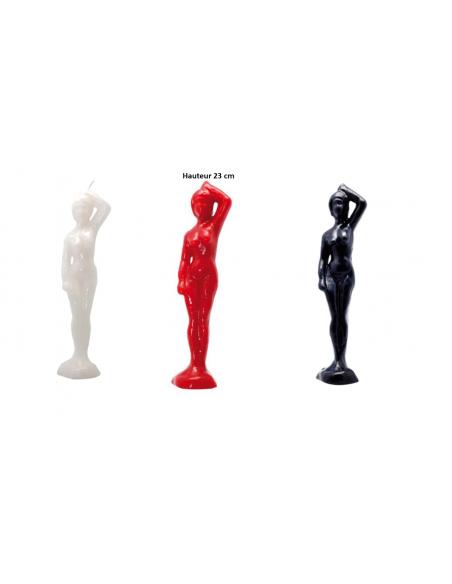 Bougie figurative Femme 23 cm Noir-Rouge-Blanc
