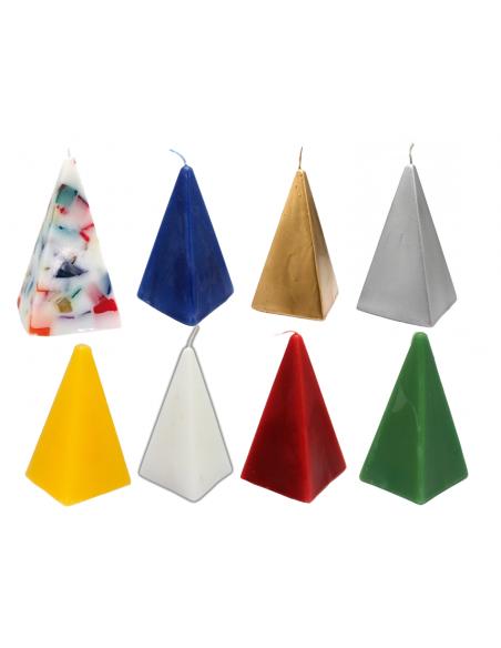 Bougie figurative Pyramide 13 cm Plusieurs couleurs