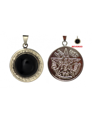 Amulette Obsidienne avec Tétragrammaton 3.5 cm