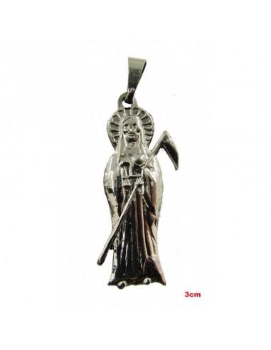 Amulette Santa Muerte argentée 3 cm