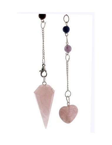 Pendule à facettes Quartz rose avec coeur & 7 chakras Premium - Lo Scarabeo
