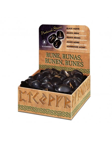 Runes en Agate noire Lo Scarabeo