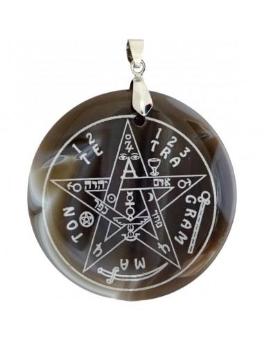 Pendentif Tétragrammaton en Agate grise