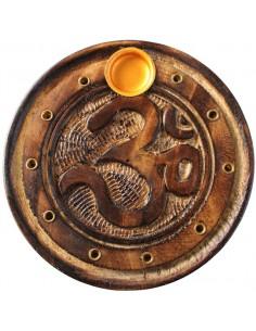 Porte encens rond bois sculpté OM