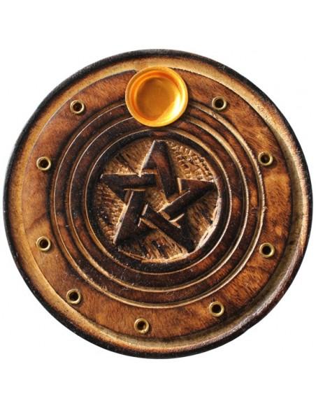 Porte encens rond bois sculpté Pentagramme