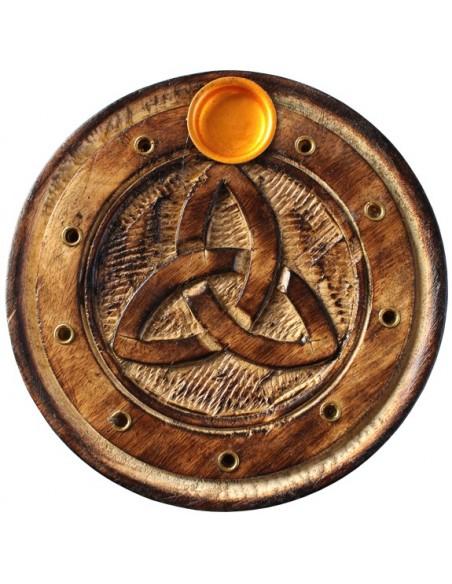 Porte encens rond bois sculpté Triquetra