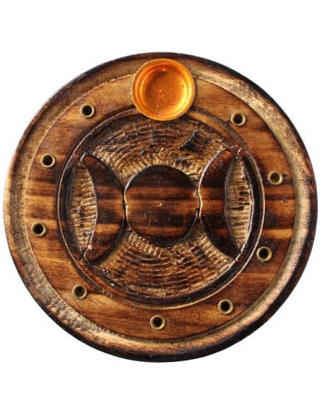 Porte encens rond bois sculpté Wicca