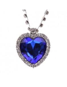 Collier Grand Cœur de Cristal Bleu