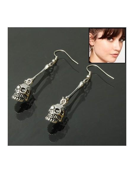 Boucles d'oreille Crâne argenté