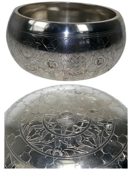Bol chantant gravé - Finition argentée 16 cm