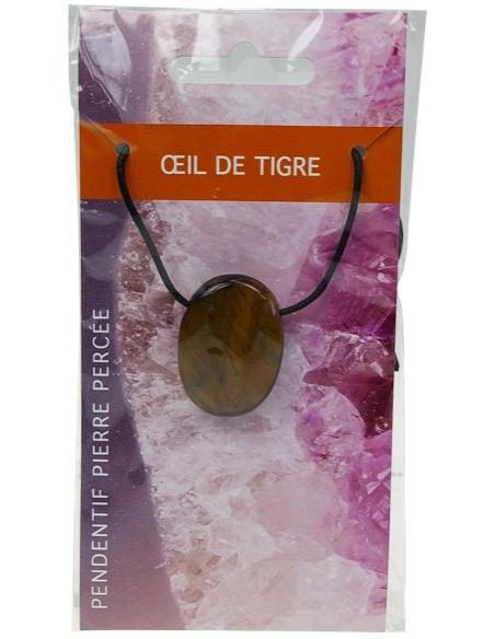 Pendentif pierre ovale percée Oeil de tigre