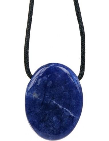 Pendentif pierre ovale percée Sodalite
