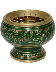 Brûle encens incrustations or/vert
