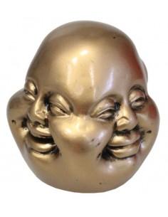 Bouddha 4 faces en résine dorée 8 cm