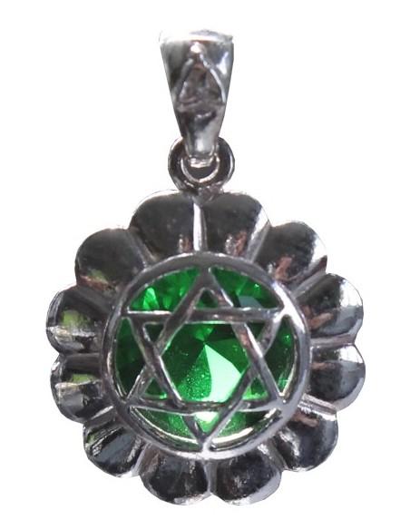 Médaille Chakra Anahata Argent 925 avec Emeraude - 2 cm