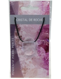 Pendentif pierre ovale percée Cristal de roche