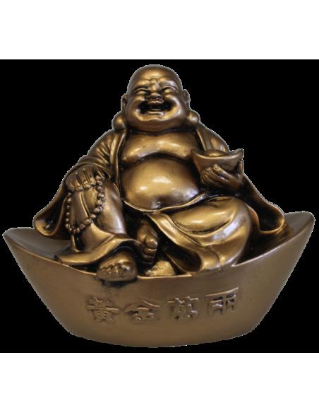Bouddha rieur sur lingot en résine dorée 9 cm