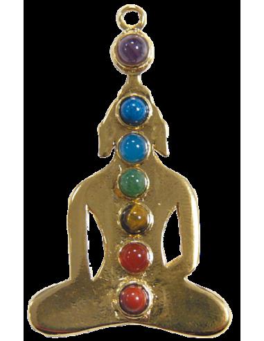 Pendentif yogi 7 chakras doré
