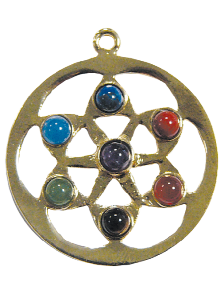 Pendentif mandala 7 chakras doré