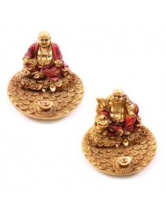 Porte-encens Bouddha souriant rouge & or