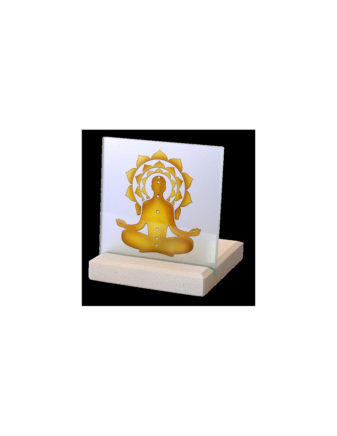 Bougeoir photophore chakkra bouddha en pierre et verre e for Photophore en verre transparent