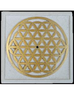 Porte Encens Fleur de Vie Pierre blanche 10 x 10 cm