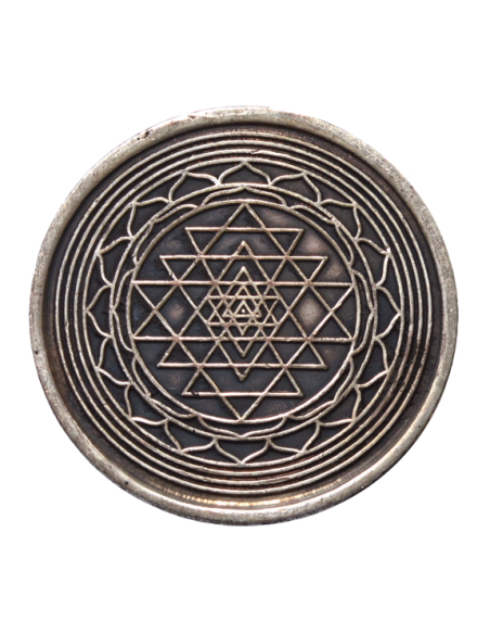 Pièce sacrée Shri Yantra cuivre 4 cm