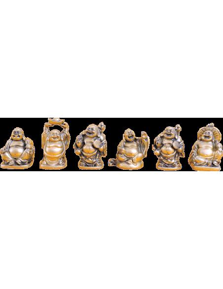 Lot de 6 Bouddhas en résine dorée 5 cm