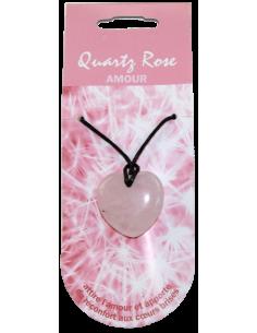 Pendentif Coeur Pierre de Vertu Quartz rose