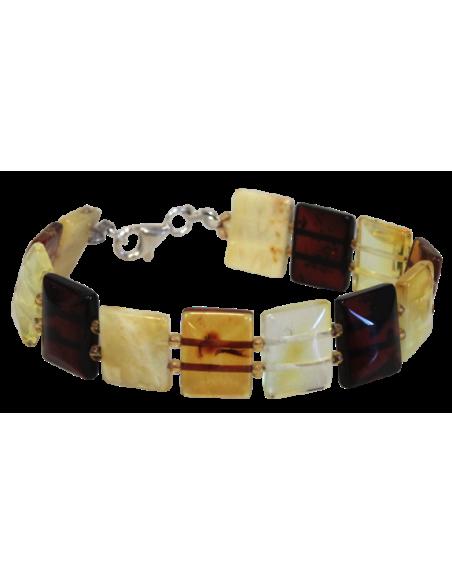 Bracelet Ambre Multicolore Rectangulaire