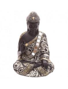 Statue bouddha thaï assis main levée (effet métal)