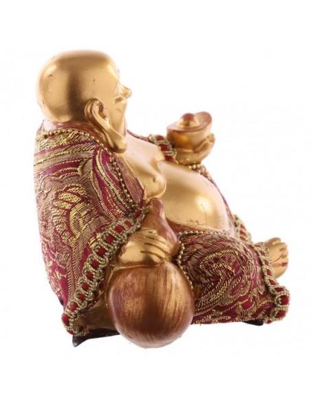 Bouddha Chinois assis - Effet rouge et doré - Petit