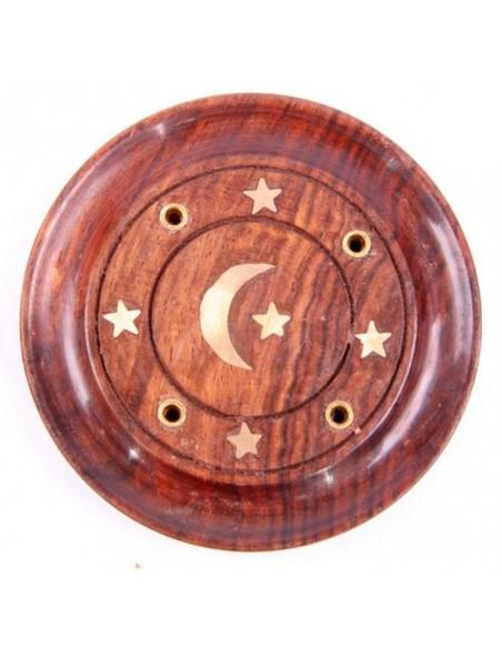 Attrape-cendres rond lune & étoiles, bois de sheesham