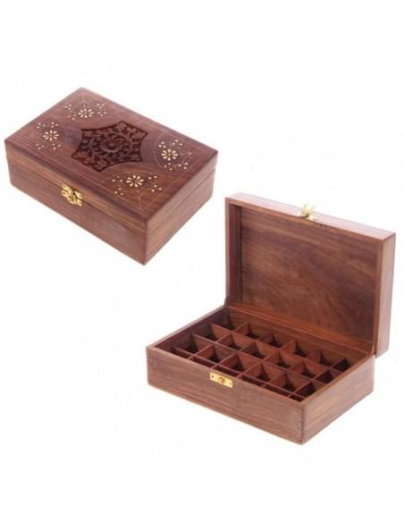 Boîte En Bois Sheesham Huiles Essentielles - D2 (24 flacons)