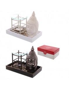 Plateau Bouddha avec galets et brûleur à huile