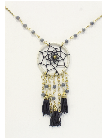 Collier Dreamcatcher Blanc et Gris