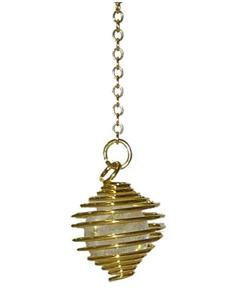 Pendule spirale dorée boule cristal de roche