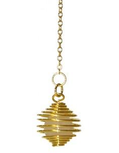 Pendule spirale dorée boule quartz rose