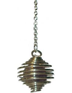 Pendule spirale argentée boule améthyste