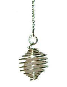 Pendule spirale argentée boule quartz rose