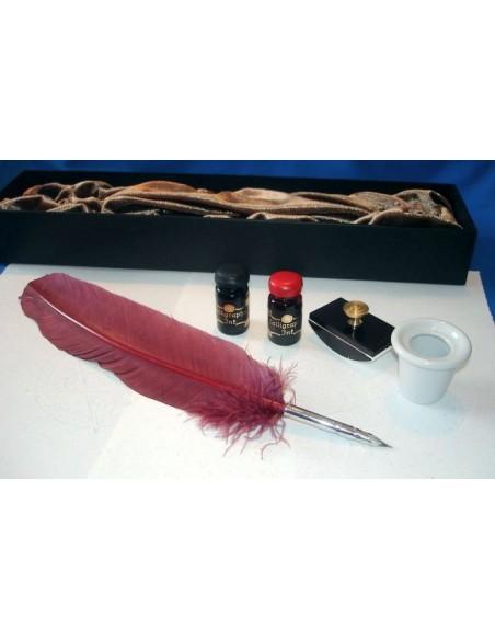 Set de calligraphie avec plume de dindon, encres et accessoire